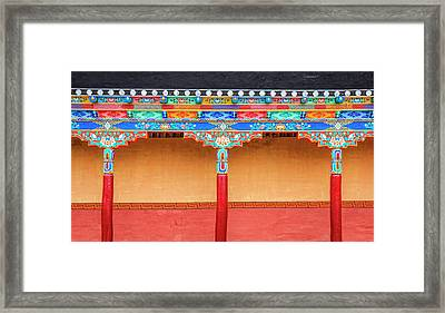 Framed Print featuring the photograph Gallery In A Buddhist Monastery by Alexey Stiop