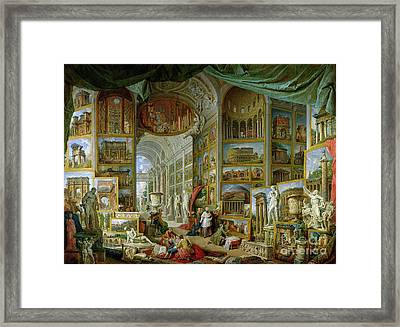 Gallery Of Views Of Ancient Rome Framed Print by Giovanni Paolo Pannini