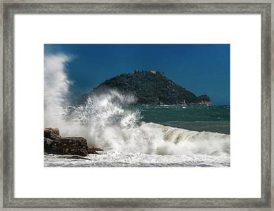 Gallinara Island Seastorm - Mareggiata All'isola Gallinara Framed Print