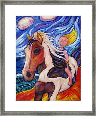 Framed Print featuring the painting Gallop Along The Beach by Dianne  Connolly