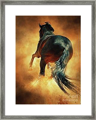 Galloping Horse In Fire Dust Framed Print