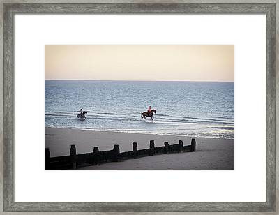 Galloping On The Beach  Framed Print by Martin Newman