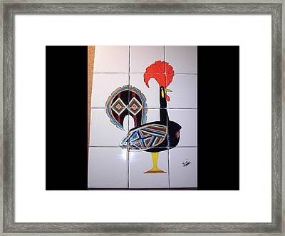 Framed Print featuring the ceramic art Galo De Barcelos by Hilda and Jose Garrancho