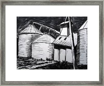 Galvanized Silos Waiting Framed Print