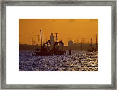 Galveston Bay Oil Pumpers Framed Print
