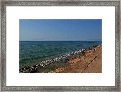 Framed Print featuring the photograph Galveston Beach At The Seawall by Tikvah's Hope