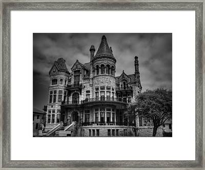 Galveston - Bishop's Palace 003 Bw Framed Print by Lance Vaughn