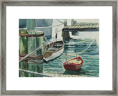 Galveston Boats Watercolor Framed Print