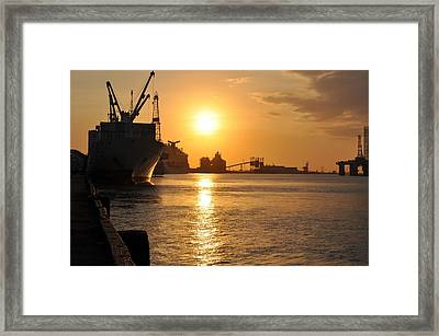 Galveston Harbor Framed Print