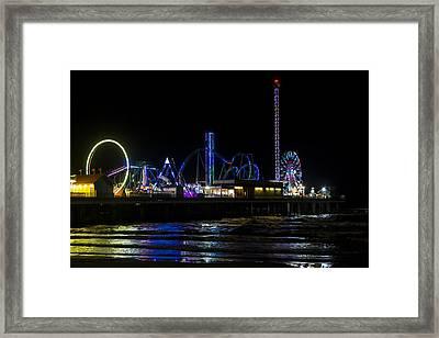 Galveston Island Historic Pleasure Pier At Night Framed Print