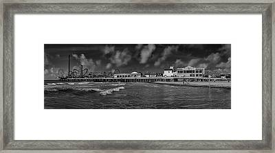 Framed Print featuring the photograph Galveston Pleasure Pier Black And White by Joshua House