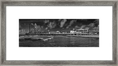 Galveston Pleasure Pier Black And White Framed Print