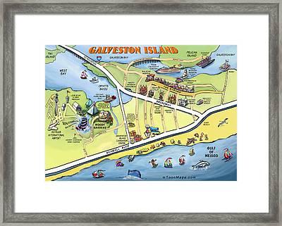 Galveston Texas Cartoon Map Framed Print