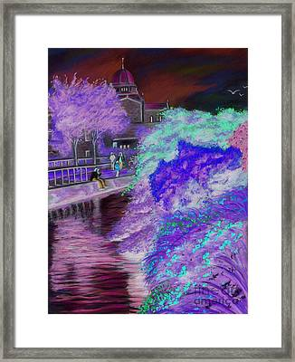 Galway Cathedral View Fron The Canal Framed Print by Vanda Luddy