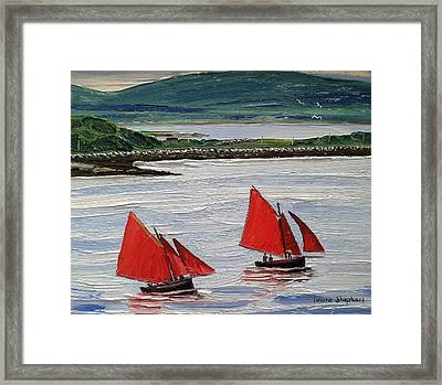 Galway Hookers Sailing By Roundstone Harbour Connemara Ireland Framed Print