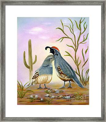 Gambel Quails Friends Forever Framed Print by Judy Filarecki