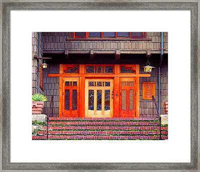 Gamble House Entry Framed Print by Timothy Bulone