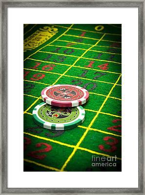 Gambling Chips Framed Print by Bernard Jaubert
