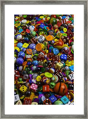 Game Dice Marbles And Buttons Framed Print by Garry Gay
