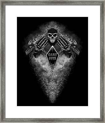 Framed Print featuring the digital art Game Over by Raphael Lopez