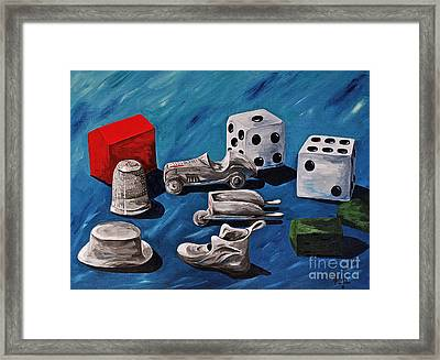 Game Pieces Framed Print by Herschel Fall