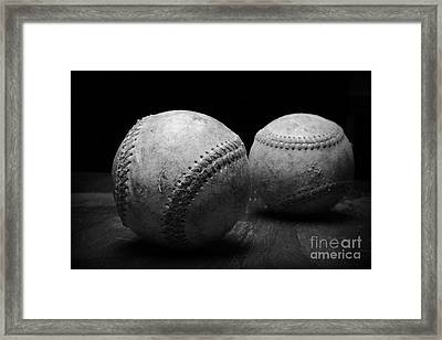 Game Used Baseballs In Black And White Framed Print by Paul Ward
