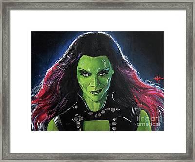 Gamora Framed Print by Tom Carlton