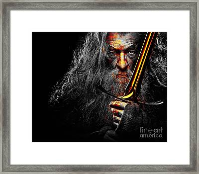 The Leader Of Mankind  - Gandalf / Ian Mckellen Framed Print by Prar Kulasekara