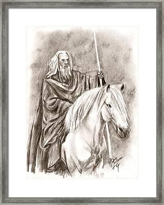 Gandalf With Shadowfax Framed Print by Maren Jeskanen