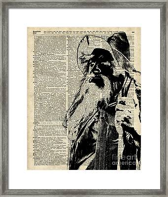 Gandalf Wizard Over Vintage Encyclopedia Book Page,lord Of The Rings,hobbit,tolkien Framed Print by Jacob Kuch