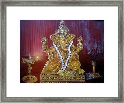 Ganesh Acrylic Painting Framed Print