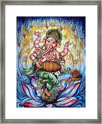Ganesha Dancing And Playing Mridang Framed Print