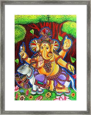 Ganesha Hindu Colored Mural Painting Framed Print