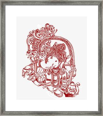 Ganesha Line Drawing Framed Print