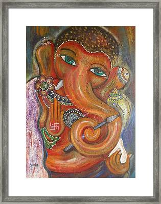 Framed Print featuring the painting Ganesha My Muse by Prerna Poojara
