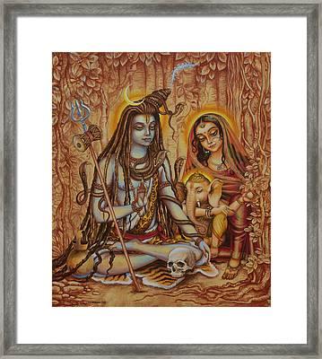 Ganesha Parvati Mahadeva Framed Print by Vrindavan Das