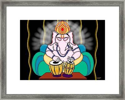 Ganesha Playing Tabla Framed Print