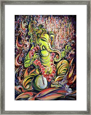 Ganesha - Playing Tanpura Framed Print by Harsh Malik