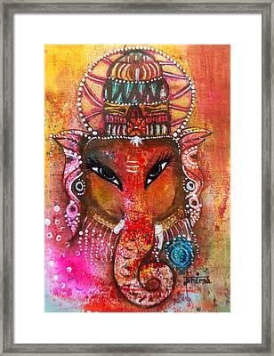 Framed Print featuring the mixed media Ganesha by Prerna Poojara