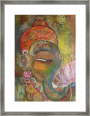 Ganesha With A Pink Lotus Framed Print