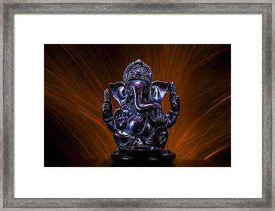 Ganesha With Fire Background Framed Print by Pelo Blanco Photo