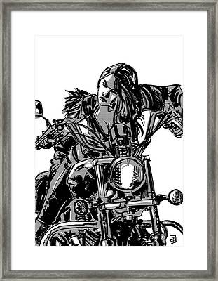 Framed Print featuring the drawing Gang Girl by Giuseppe Cristiano