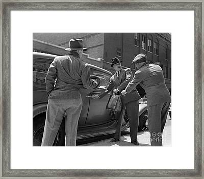 Gangsters Holding Up Man, C.1940s Framed Print by H. Armstrong Roberts/ClassicStock