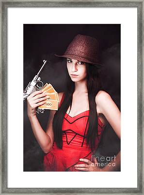 Ganster And Her Gun Framed Print