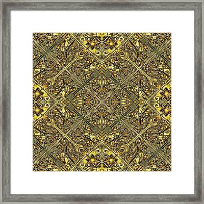 Ganw - Golden Aztec Navajo Wall Framed Print by Nenad Cerovic
