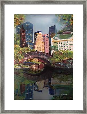Gapstow Bridge Central Park Nyc Framed Print by Wayne Pearce