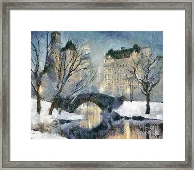 Gapstow Bridge In Snow Framed Print