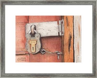 Garage Lock Number Four Framed Print by Ken Powers