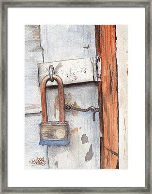 Garage Lock Number One Framed Print by Ken Powers