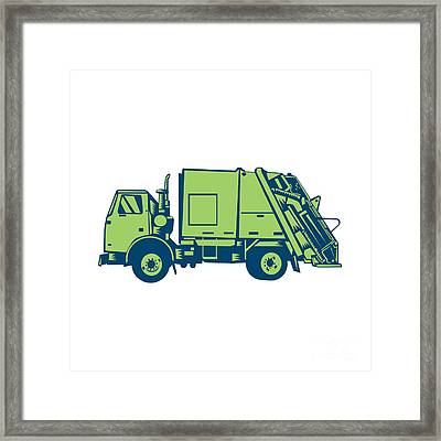 Garbage Truck Rear End Loader Side Woodcut Framed Print by Aloysius Patrimonio